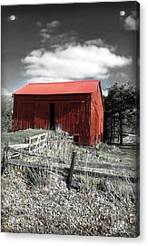 Red Shack Landscape Acrylic Print by Joan  Minchak