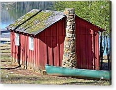 Red Shed And Canoe Acrylic Print by Susan Leggett