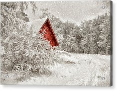 Red Shed In The Snow Acrylic Print by Lois Bryan