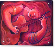 Red Sings The Blues Painting 43 Acrylic Print by Angela Treat Lyon
