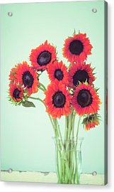 Red Sunflowers Acrylic Print by Amy Tyler