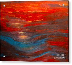 Red Sunset Abstract  Acrylic Print by Nancy Rucker