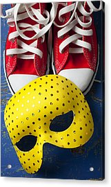 Red Tennis Shoes And Mask Acrylic Print by Garry Gay