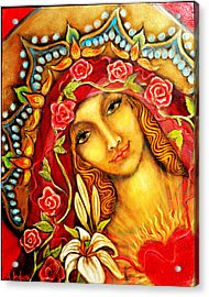 Red Thread Madonna Acrylic Print by Molly Indura
