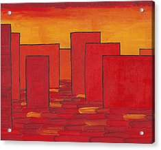 Red Town P1 Acrylic Print by Manuel Sueess