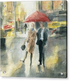 Red Umbrella New York City Acrylic Print by Beverly Brown Prints