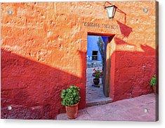Red Wall In Santa Catalina Monastery Acrylic Print by Jess Kraft