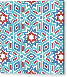 Red White And Blue Fireworks Pattern- Art By Linda Woods Acrylic Print by Linda Woods