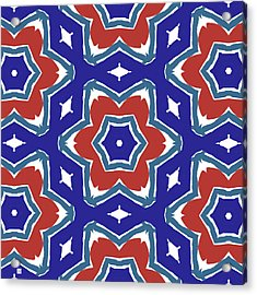 Red White And Blue Star Flowers 1- Pattern Art By Linda Woods Acrylic Print by Linda Woods