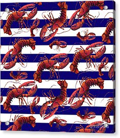 Coastal Red White And Blue Striped Lobster Pattern Design By Megan Duncanson Madart Acrylic Print by Megan Duncanson