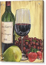 Red Wine And Pear 2 Acrylic Print by Debbie DeWitt