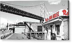 Reds Java House And The Bay Bridge In San Francisco Embarcadero Black And White And Red Panoramic Acrylic Print by Wingsdomain Art and Photography