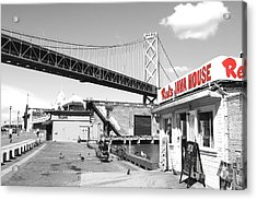 Reds Java House And The Bay Bridge In San Francisco Embarcadero . Black And White And Red Acrylic Print by Wingsdomain Art and Photography