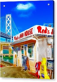 Red's Java House Electrified Acrylic Print by Wingsdomain Art and Photography