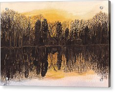 Reflections At Sunset On Bitely Lake Acrylic Print by Conni Schaftenaar