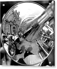 Reflections In A Trombone Acrylic Print by Todd Fox