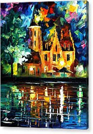 Reflections Of Brussels - Palette Knife Oil Painting On Canvas By Leonid Afremov Acrylic Print by Leonid Afremov