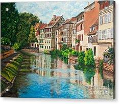 Reflections Of Strasbourg Acrylic Print by Charlotte Blanchard