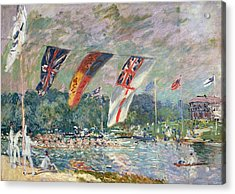 Regatta At Molesey Acrylic Print by Alfred Sisley