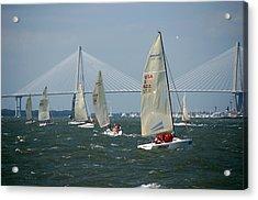 Regatta In Charleston Harbor Acrylic Print by Susanne Van Hulst