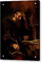 Replica Of Rembrandt's Apostle Paul Acrylic Print by Tigran Ghulyan