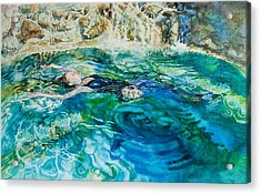 Repose In A Pool In France Acrylic Print by Gilly Marklew