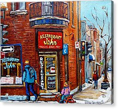Restaurant John Montreal Acrylic Print by Carole Spandau