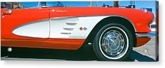 Restored Red 1959 Corvette, Fender Acrylic Print by Panoramic Images