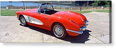 Restored Red 1959 Corvette, Side View Acrylic Print by Panoramic Images
