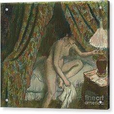 Retiring Acrylic Print by Edgar Degas