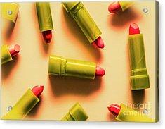Retro Cosmetic Lipstick Background Acrylic Print by Jorgo Photography - Wall Art Gallery