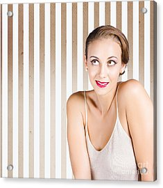 Retro Fashion Model Looking At Copyspace Acrylic Print by Jorgo Photography - Wall Art Gallery