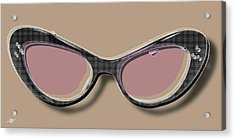Retro Glasses Funky Pop Pink Rose Brown Acrylic Print by Tony Rubino