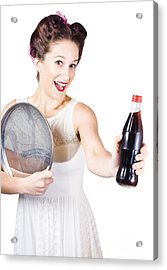 Retro Pin-up Girl Giving Bottle Of Soft Drink Acrylic Print by Jorgo Photography - Wall Art Gallery