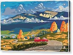 Retro Travel Autumn Landscape Acrylic Print by Sassan Filsoof