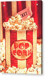 Retro Tub Of Butter Popcorn And Ticket Stub Acrylic Print by Jorgo Photography - Wall Art Gallery