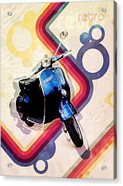 Retro Vespa Scooter Acrylic Print by Michael Tompsett