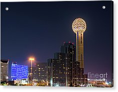Reunion Tower After Dark Acrylic Print by Tod and Cynthia Grubbs