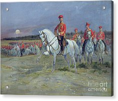 Reviewing The Troops Acrylic Print by Jean Baptiste Edouard Detaille