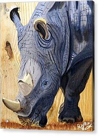 Rhino On Wood Acrylic Print by Debbie LaFrance