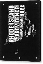 Rhode Island Black And White Map Acrylic Print by Naxart Studio