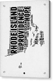 Rhode Island Word Cloud 1 Acrylic Print by Naxart Studio