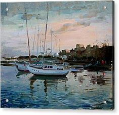 Rhodes Mandraki Harbour Acrylic Print by Ylli Haruni