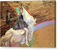 Rider On A White Horse Acrylic Print by Henri de Toulouse Lautrec