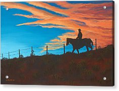 Riding Fence Acrylic Print by Jerry McElroy
