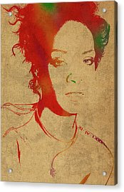 Rihanna Watercolor Portrait Acrylic Print by Design Turnpike