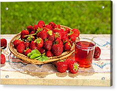 Ripe Strawberries In Basket And Juice In Glass  Acrylic Print by Arletta Cwalina