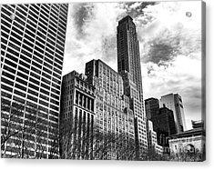Rising In Manhattan Mono Acrylic Print by John Rizzuto