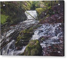 River At Talybont On Usk In The Brecon Beacons Acrylic Print by Harry Robertson