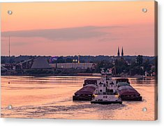 River Bend Barge Acrylic Print by Andrea Kappler